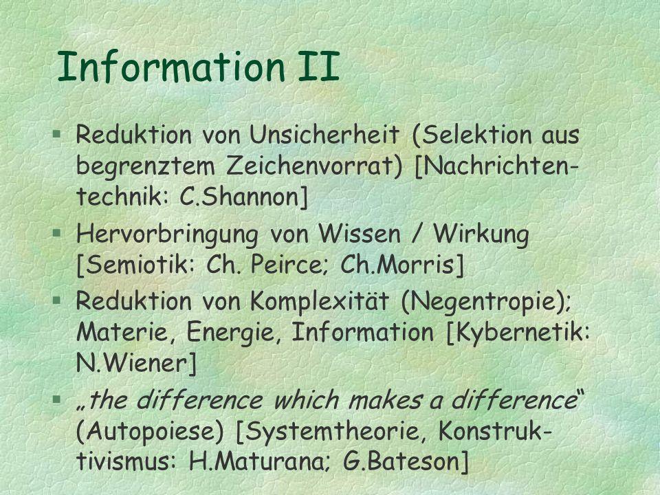 Information II Reduktion von Unsicherheit (Selektion aus begrenztem Zeichenvorrat) [Nachrichten-technik: C.Shannon]